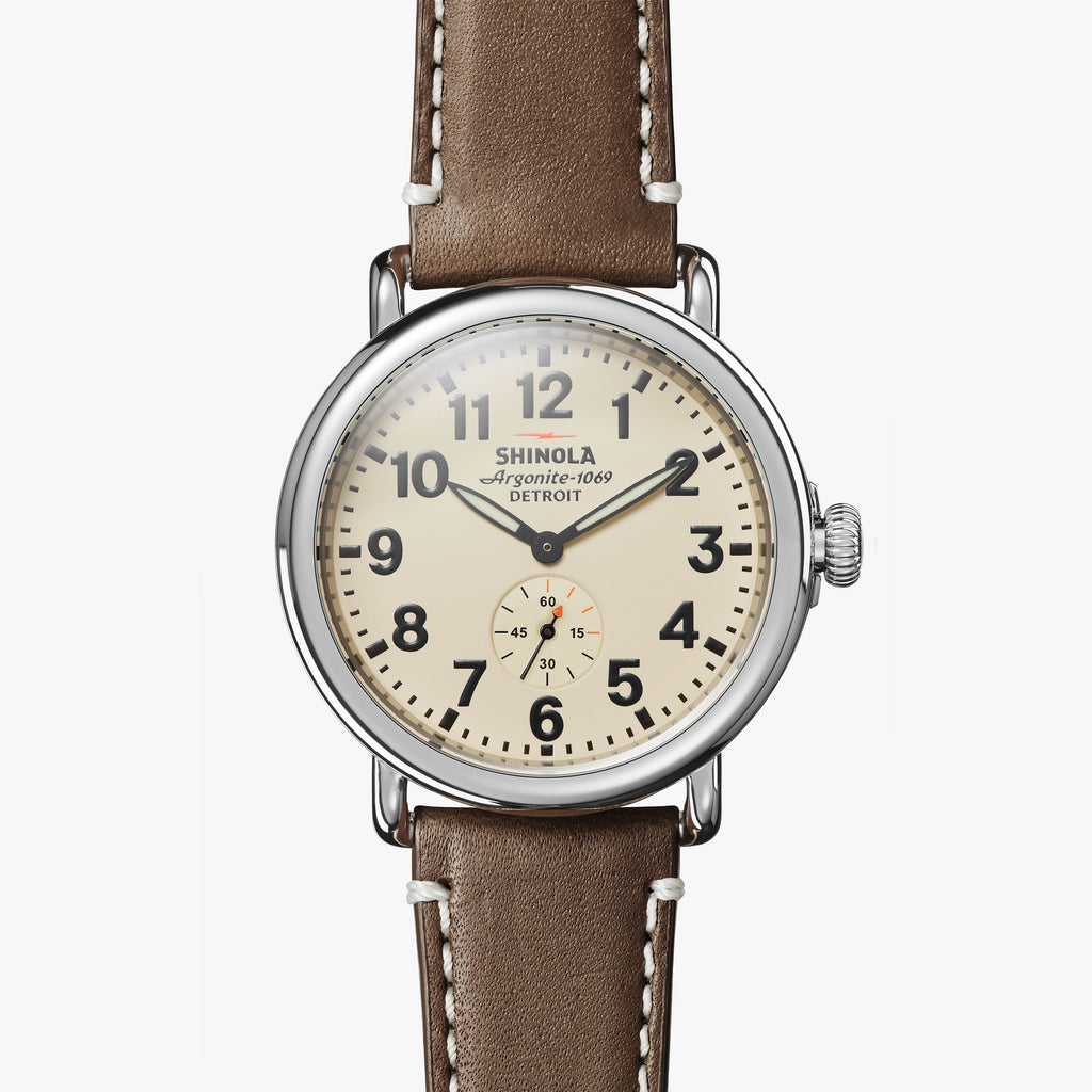 Shinola The Runwell 41mm Cream Watch Dark Coffee Leather Strap