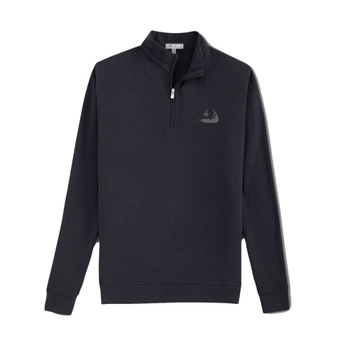 Peter Millar Tri-Blend Mélange Fleece Quarter-Zip Black