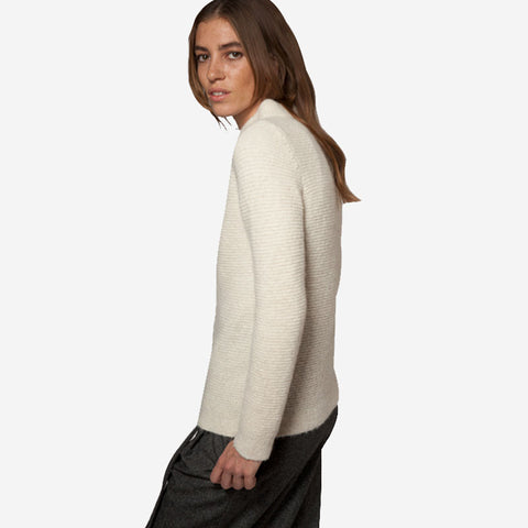 Fisherman out of Ireland Garter Stitch Mock Neck Sweater Ecru