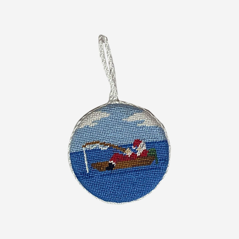 Smathers & Branson Fishing Santa Needlepoint Ornament