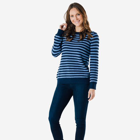 Sail to Sable Long Sleeve Striped Sweater Navy