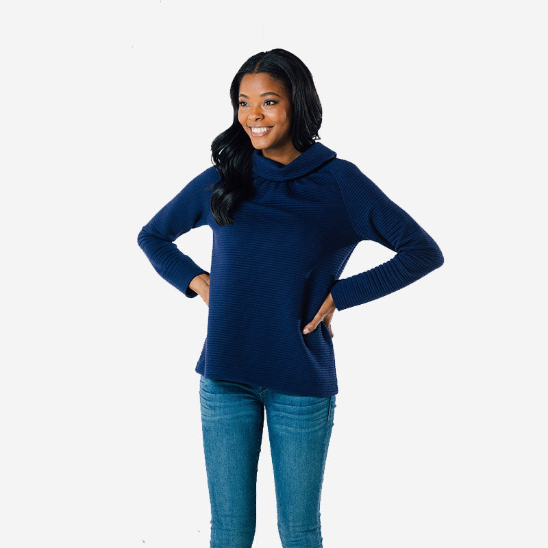 Sail to Sable Long Sleeve Button Back Top Navy