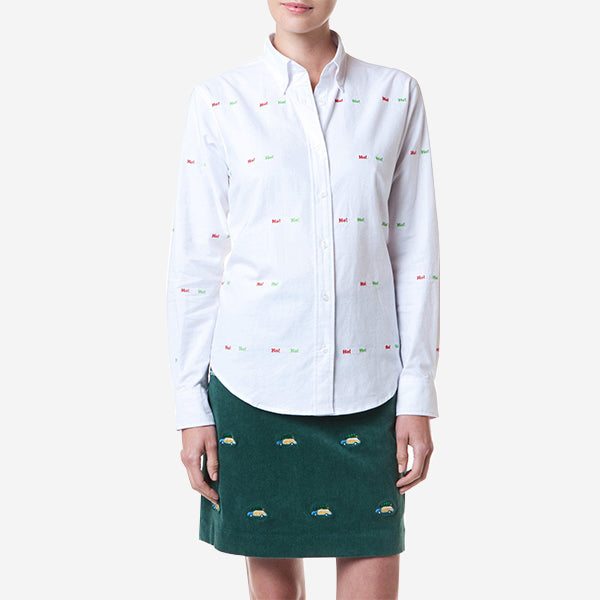 Castaway Button Down Shirt - White Oxford with HoHoHo