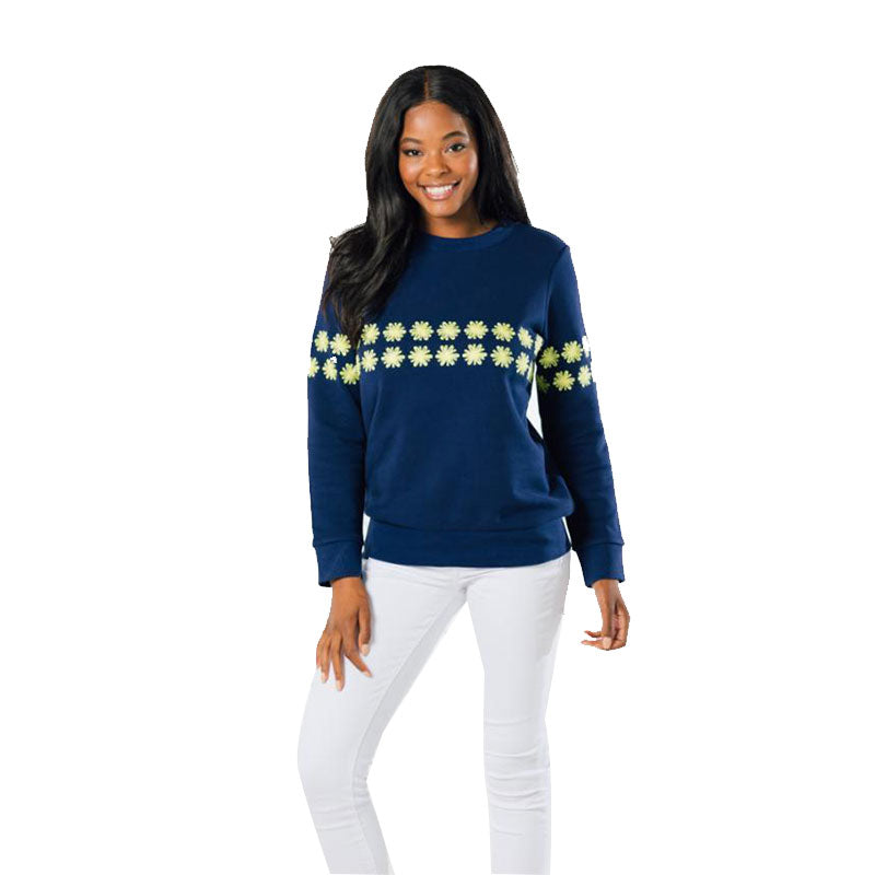 Sail to Sable Floral Embroidered Sweatshirt Navy