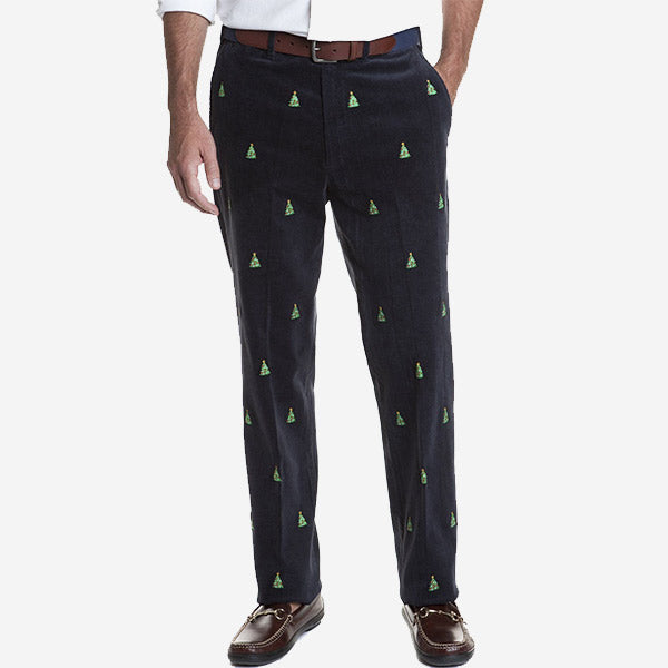 Castaway Beachcomber Corduroy Pant - Nantucket Navy with Christmas Tree