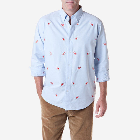 Castaway Straight Wharf Shirt - Blue Oxford with Candy Cane