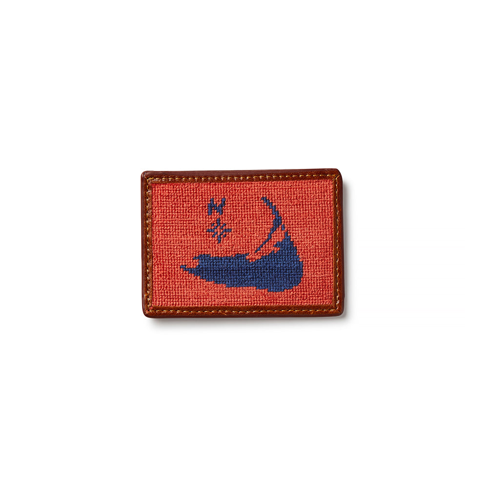 Smathers & Branson Nantucket Island Needlepoint Card Wallet - Red