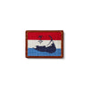 Smathers & Branson Navy Island Needlepoint Card Wallet - Red/White/Cobalt