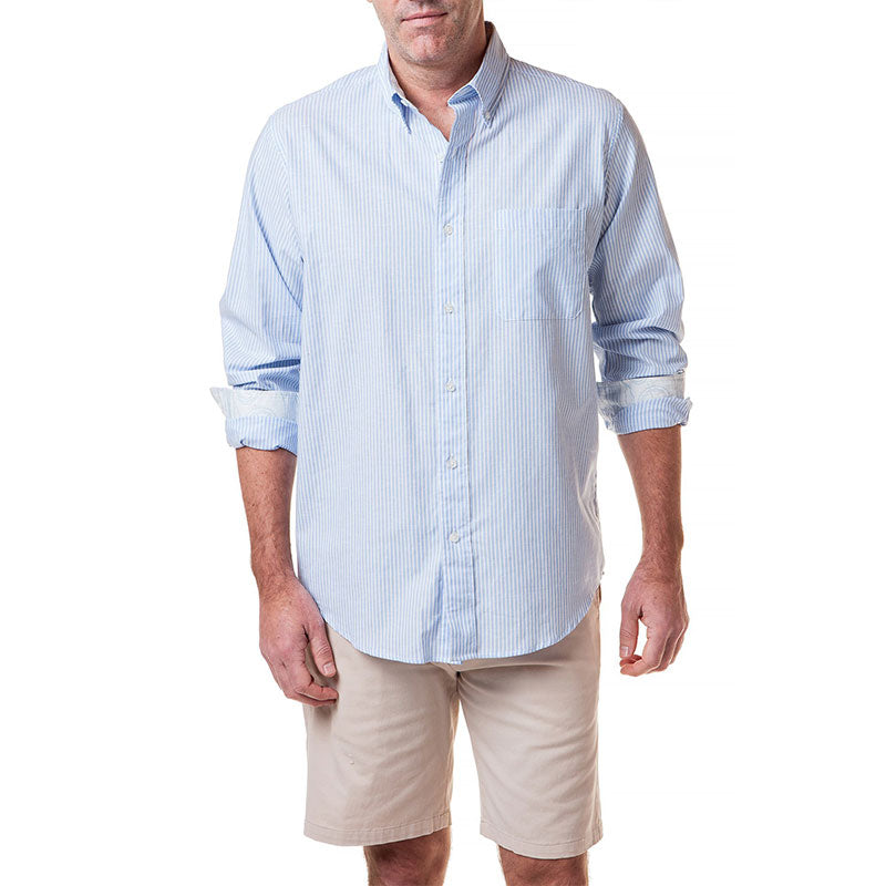 Castaway Chase Shirt Beach Stripe Linen Light Blue