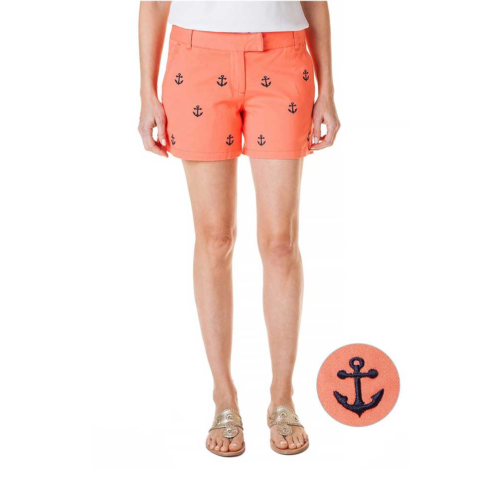 Castaway Sailing Short Stretch Twill Coral with Anchor
