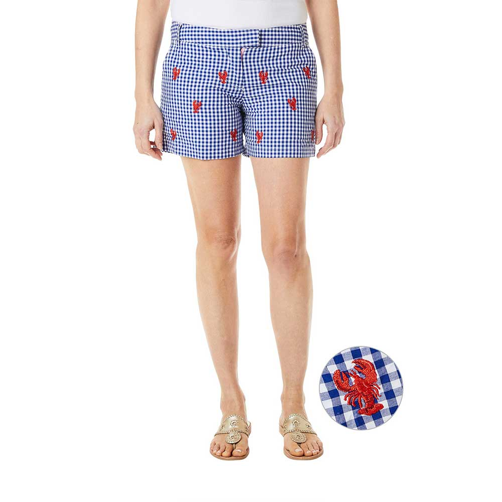 Castaway Sailing Short Wide Gingham Royal with Lobster