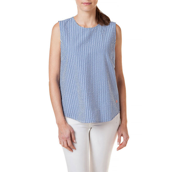 Castaway Ladies Sleeveless Top Navy Seersucker