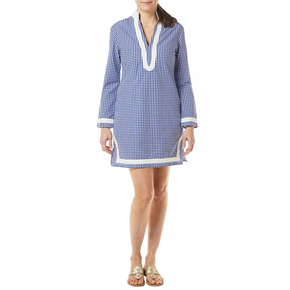 Castaway Tunic Dress Wide Gingham Royal with White Trim