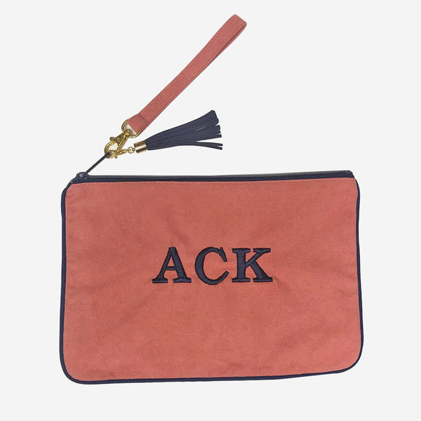 Nantucket Reds Collection™ Custom Clutch - Navy Piping w/ Wristlet Strap