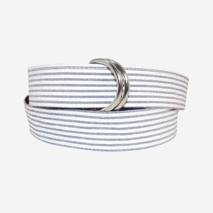 YRI Men's Ribbon D-Ring Belt - Navy Seersucker