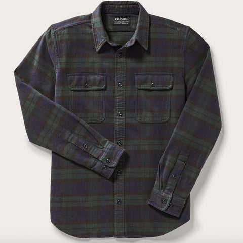 Filson Vintage Flannel Work Plaid Shirt Black Green Navy