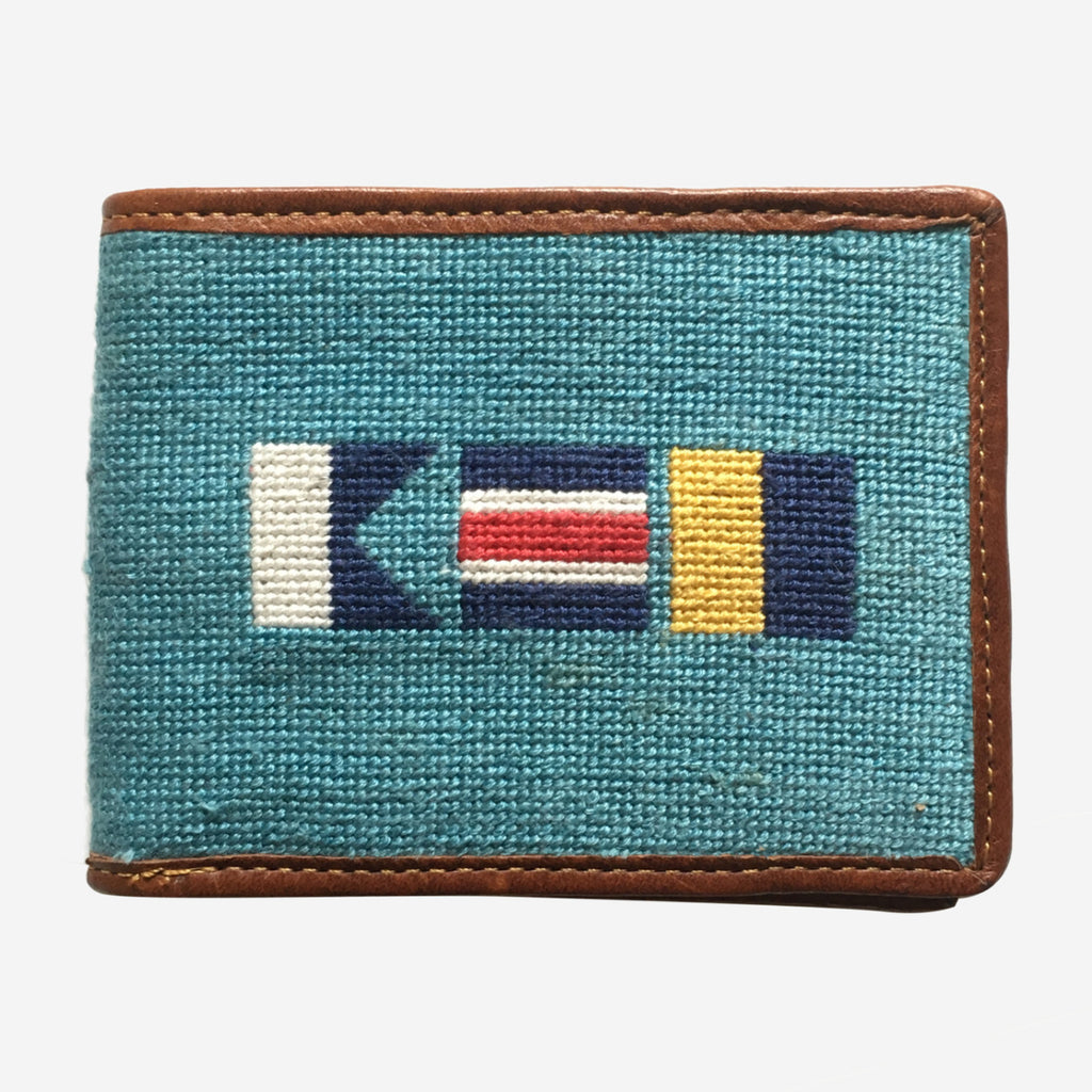 Smathers & Branson ACK Nautical Flags Needlepoint Bifold Wallet