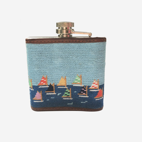 Smathers & Branson Brant Point Rainbow Fleet Scene Needlepoint Flask