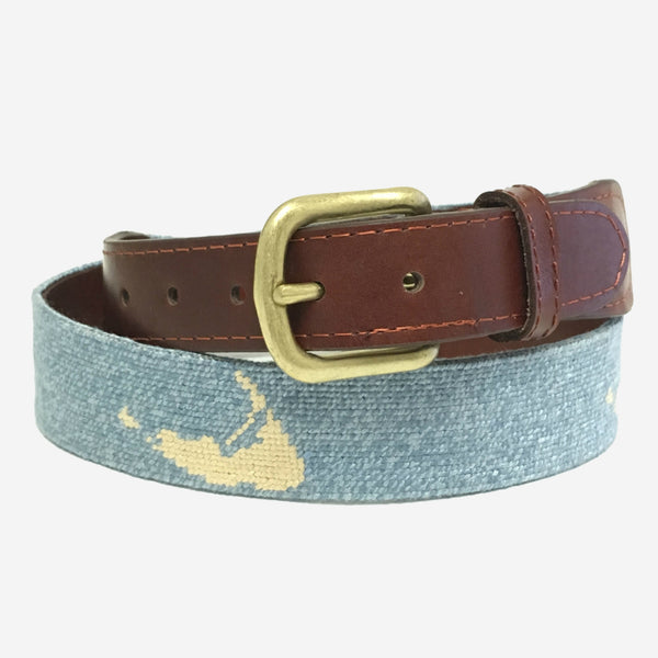 Smathers & Branson Nantucket on Light Blue Needlepoint Belt