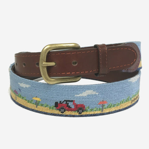 Smathers & Branson Great Point Jeeps Needlepoint Belt