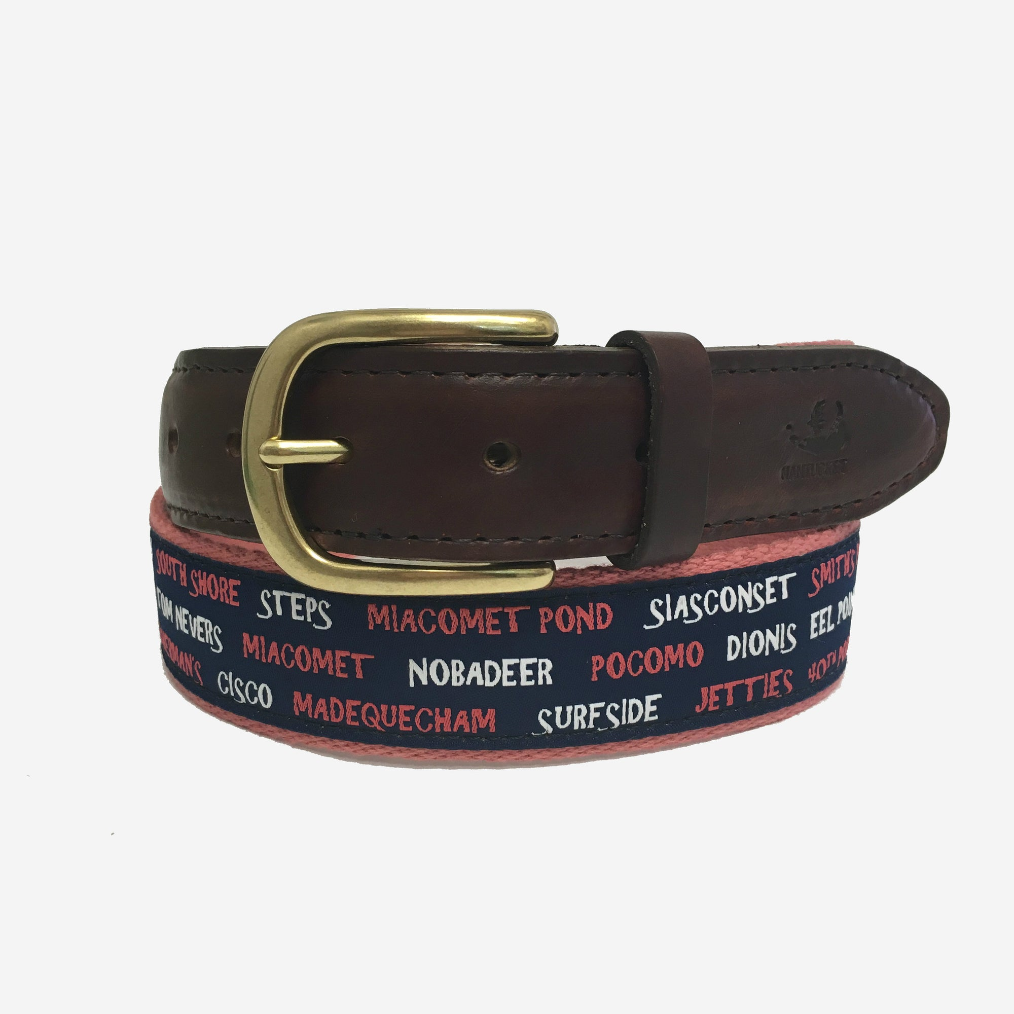 YRI Men's Ribbon Belt - Nantucket Beaches