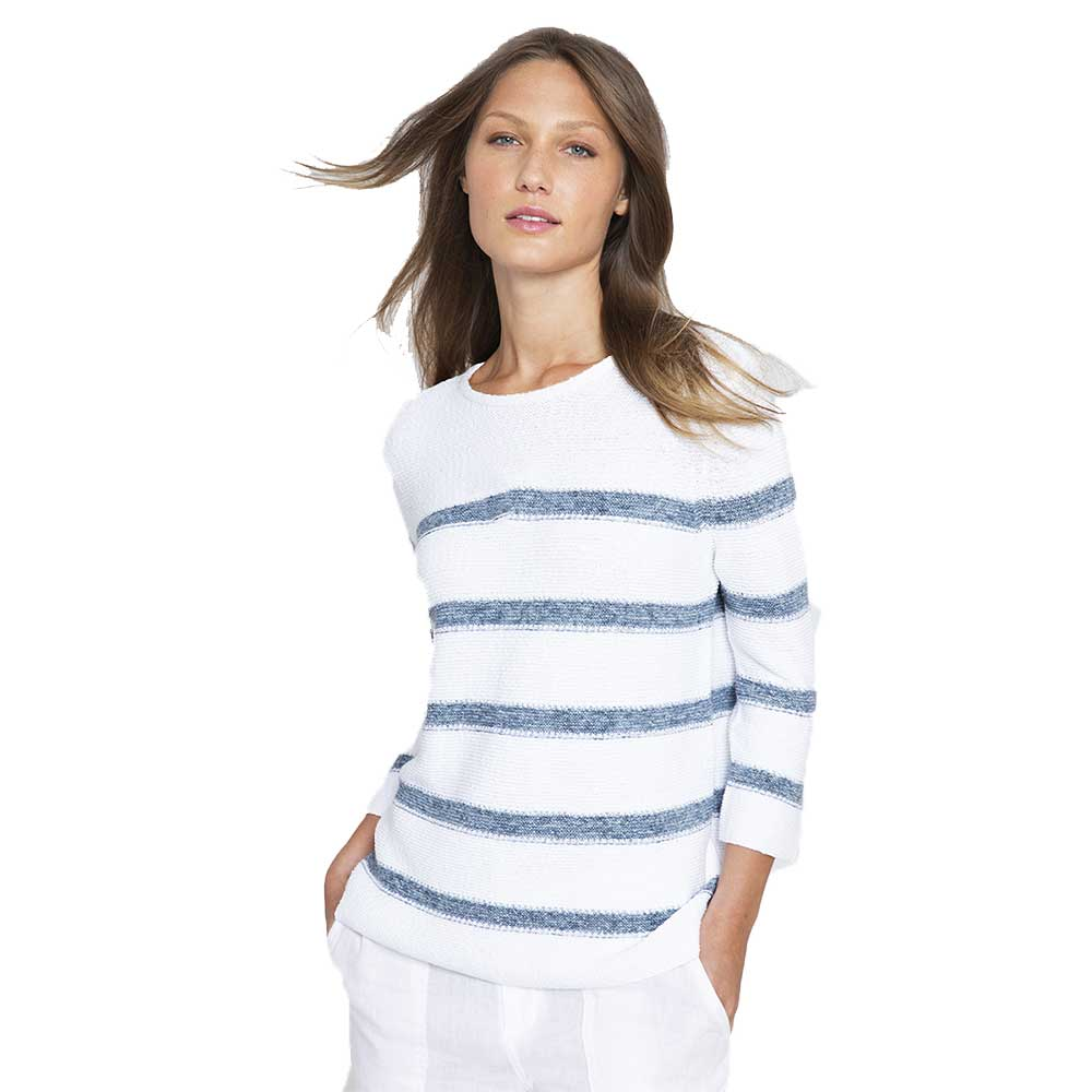 Kinross Cashmere Texture Stripe Pullover