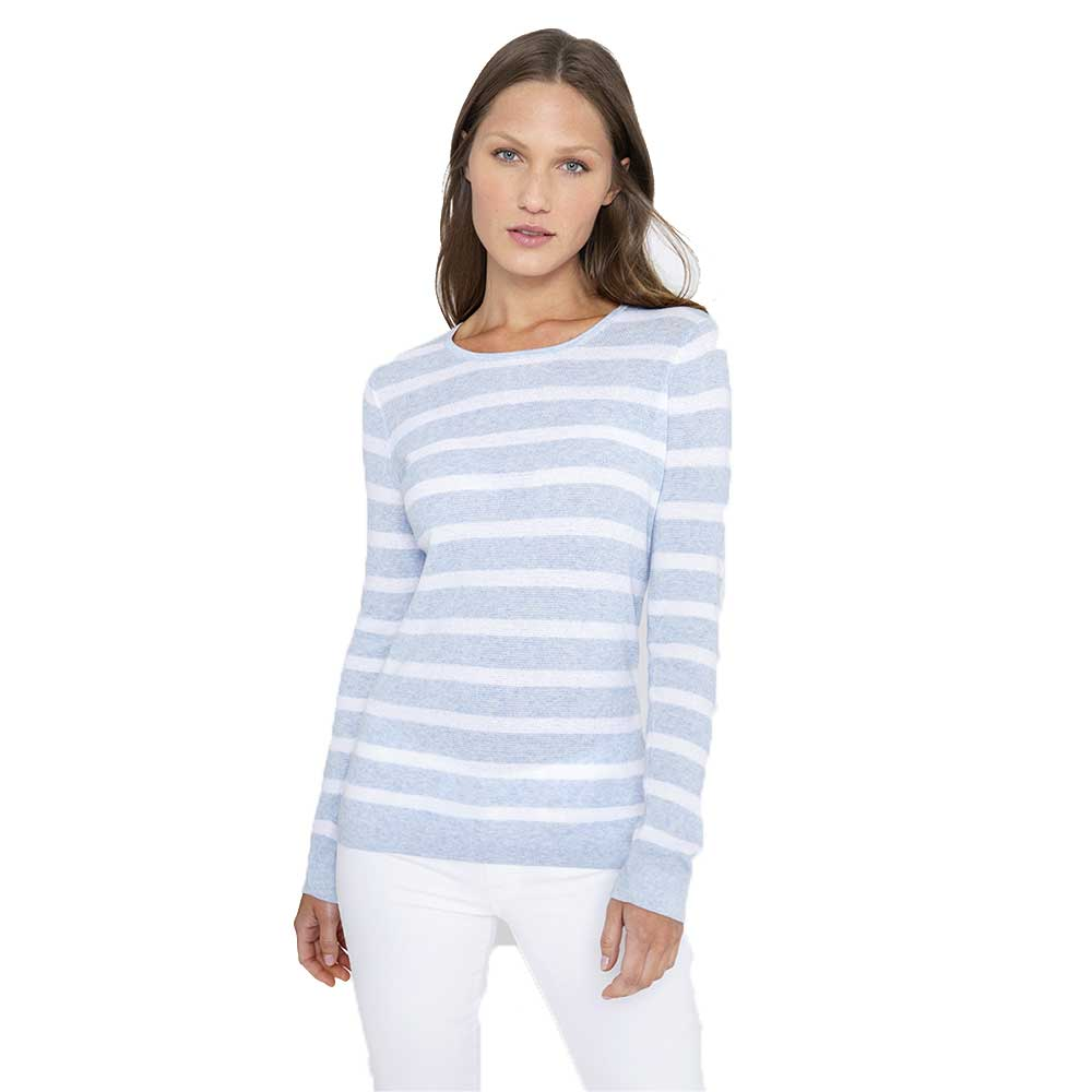 Kinross Cashmere Thermal Stripe Crew Wave White