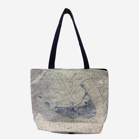 Nantucket Island Chart Tote Bag