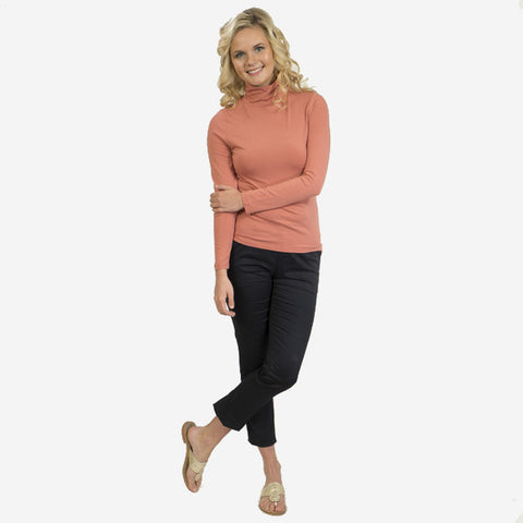 Nantucket Reds Collection™ Ladies Long Sleeve Modal Cotton Shirt - Turtleneck