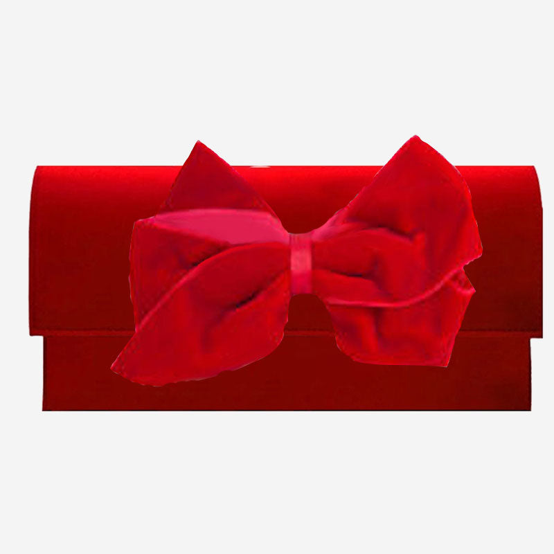 Peachy Pendants Cambridge Clutch Red with Red Velvet Bow