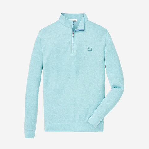 Peter Millar Crown Comfort Interlock Quarter-Zip Seashore
