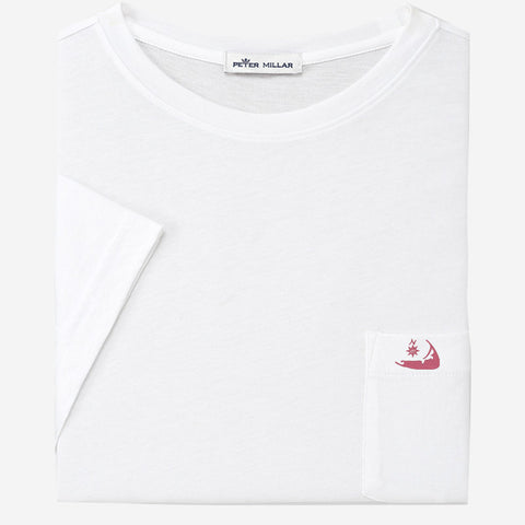 Peter Millar Nantucket Seaside Summer Soft Pocket Tee - White with Island Logo