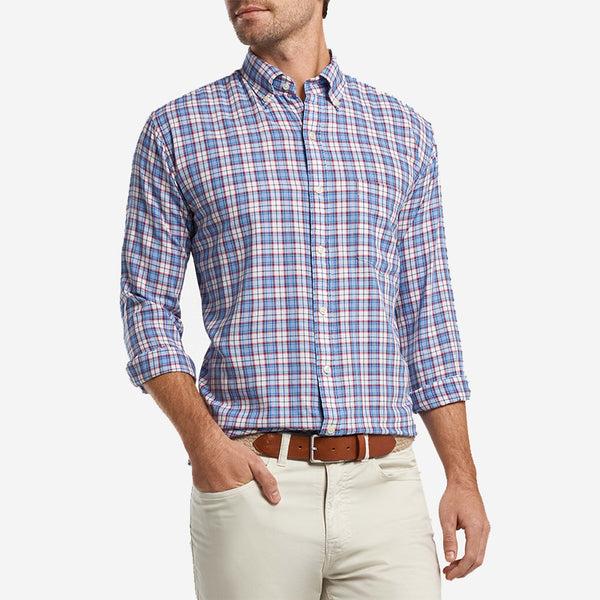 Peter Millar Mens Tamarama Cotton Sport Shirt Lazuline