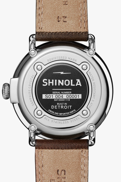Shinola The Runwell 47mm Men's Slate Blue Watch Deep Brown Leather Strap