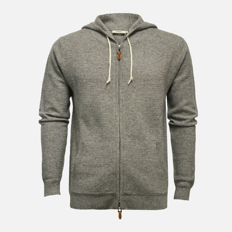 Hommard Cervinia Hooded Cashmere Sweater In Herringbone Stitch - Grey