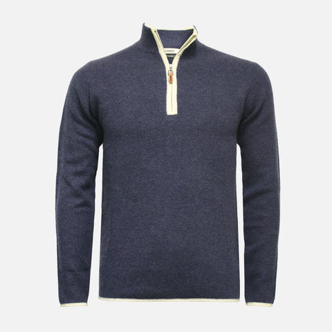 Hommard Verbier Zip Neck Cashmere Sweater - Jeans With White
