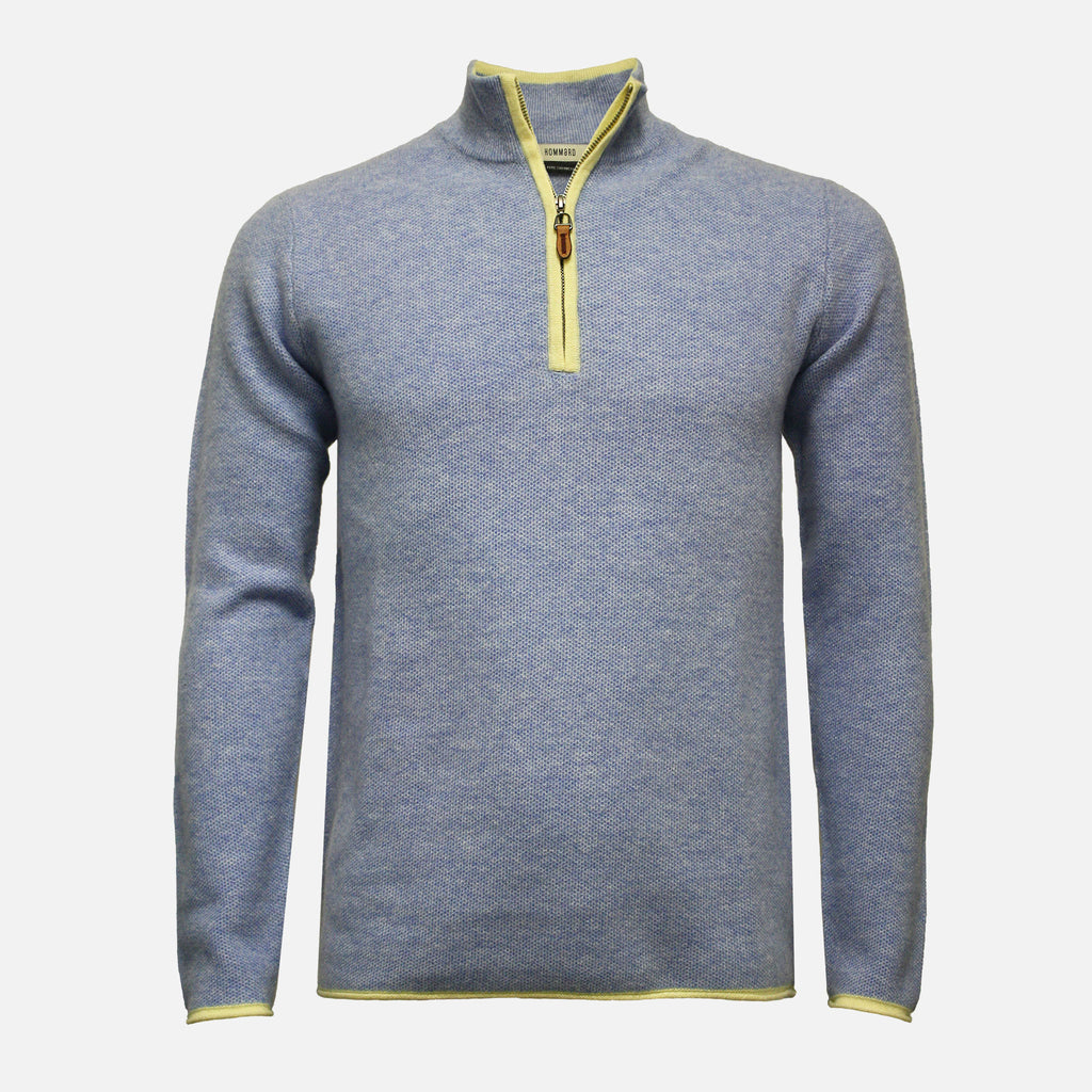 Hommard Verbier Zip Neck Cashmere Sweater - Light Blue With Yellow