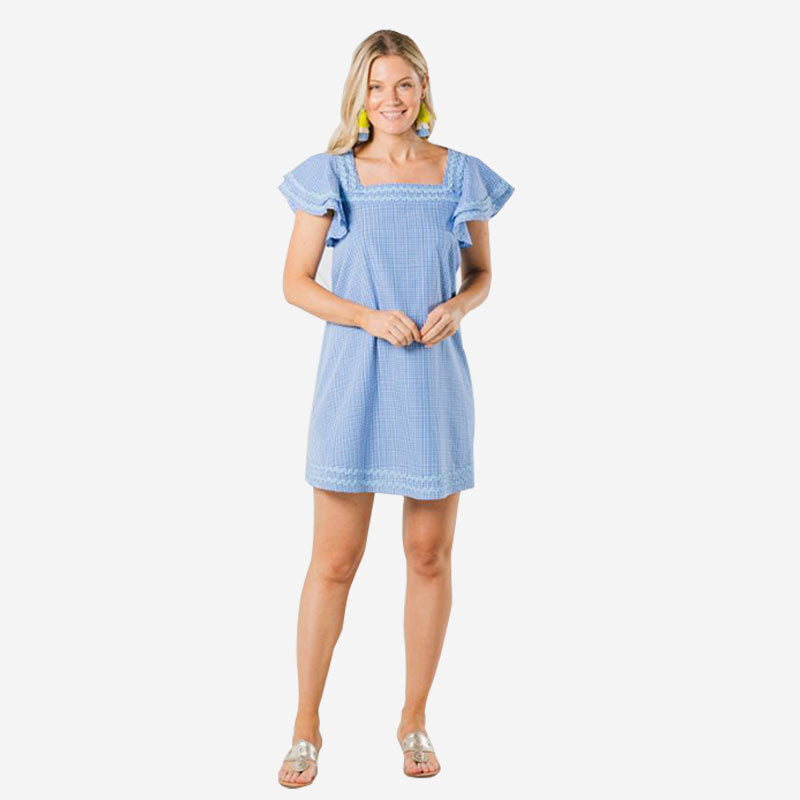 Sail to Sable Flutter Sleeve Dress Blue White