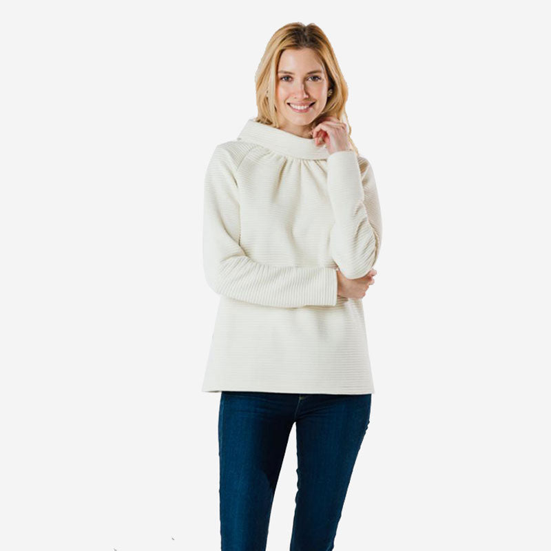 Sail to Sable Long Sleeve Button Back Top - Ivory