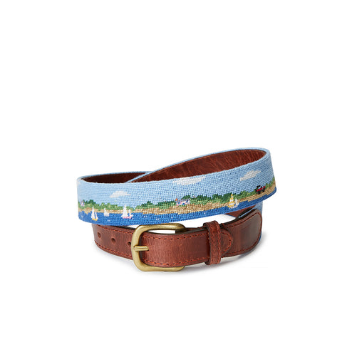 Smathers & Branson Sankaty-Great Point Scene Needlepoint Belt