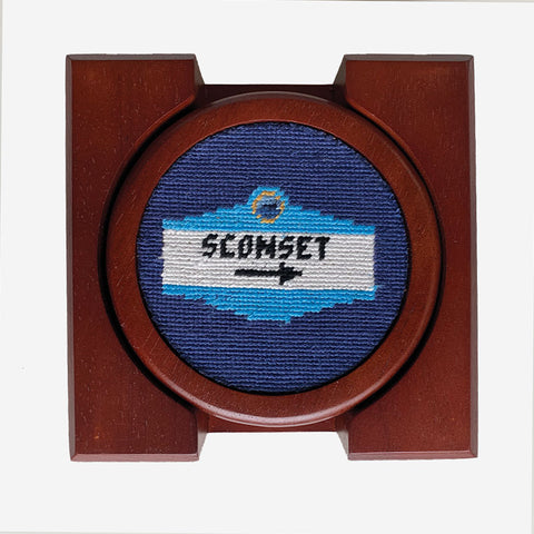Smathers & Branson Town Sign Needlepoint Coaster Set