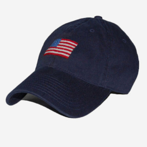 Smathers & Branson American Flag Needlepoint Hat - Navy