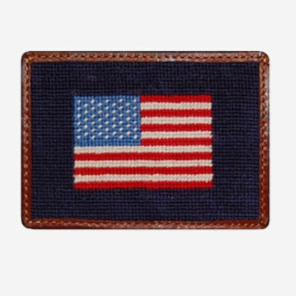 Smathers & Branson American Flag Needlepoint Card Wallet