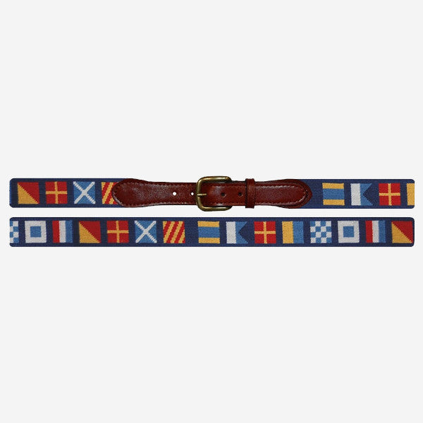 Smathers & Branson Dark 'n Stormy Nautical Flag Needlepoint Belt