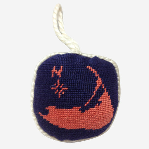 Smathers & Branson Nantucket Island on Navy Needlepoint Ornament