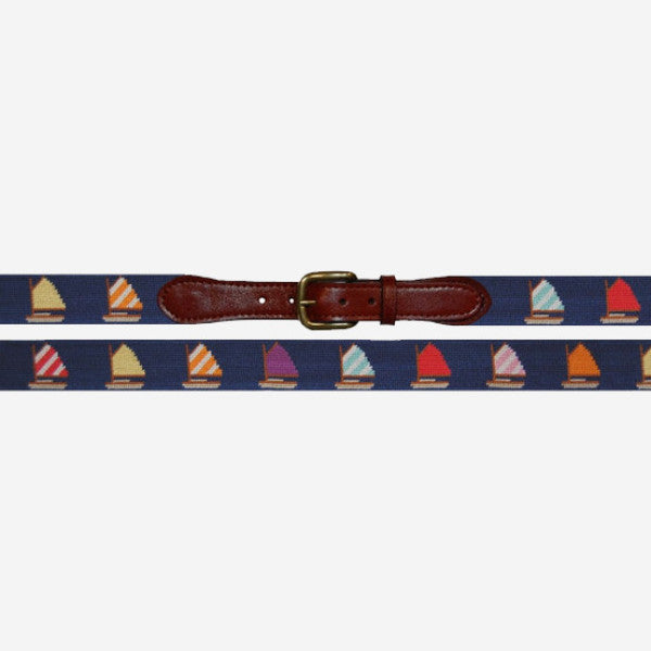 Smathers & Branson Rainbow Fleet Needlepoint Belt - Navy