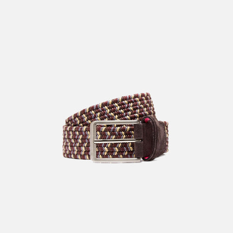 Beltology Static Men's Designer Belt - Burgundy, Grey & Gold