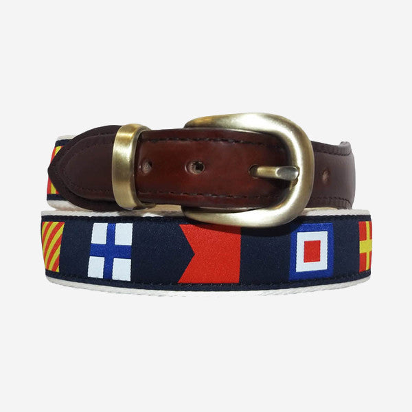 YRI Men's Ribbon Belt - Navy Code Flags