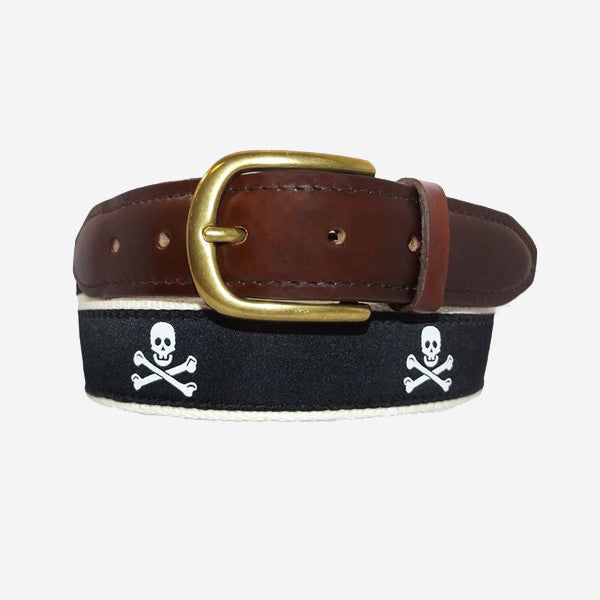 YRI Men's Ribbon Belt - Pirate Crossbones