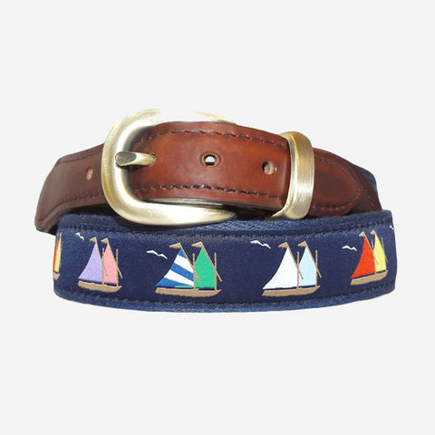 YRI Men's Ribbon Belt - Rainbow Fleet Sailboats